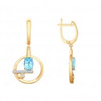 Золотые серьги подвесные с топазами и фианитами ДИ725495