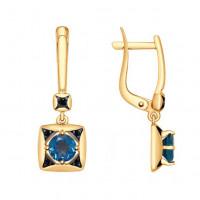 Золотые серьги подвесные с топазами и фианитами ДИ725206