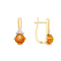 Золотые серьги с янтарем и фианитами ДИ725483