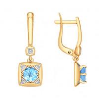 Золотые серьги подвесные с топазами и фианитами ДИ725205