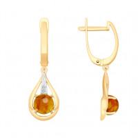Золотые серьги подвесные с янтарем и фианитами ДИ725473