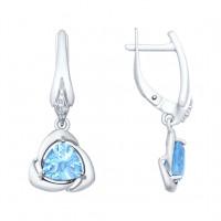 Серебряные серьги подвесные с топазами и фианитами ДИ92021623