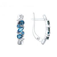 Серебряные серьги с топазами ДИ92021779