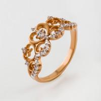 Золотое кольцо с фианитами 2Т3715255Р
