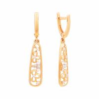 Золотые серьги подвесные с фианитами СЩ30082500