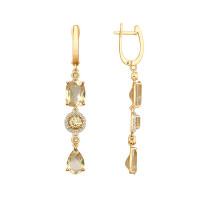 Золотые серьги подвесные с топазами и фианитами ДИ725299