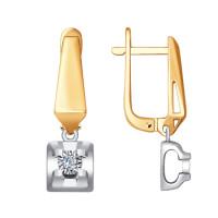 Золотые серьги подвесные с бриллиантами ДИ1021248
