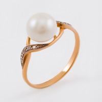 Золотое кольцо с жемчугом и фианитами ФЖ31515.1