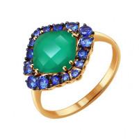Золотое кольцо с хризопразами и корундами ДИ714132хп
