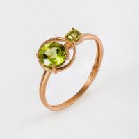 Золотое кольцо с хризолитами НЮ102000193331хр