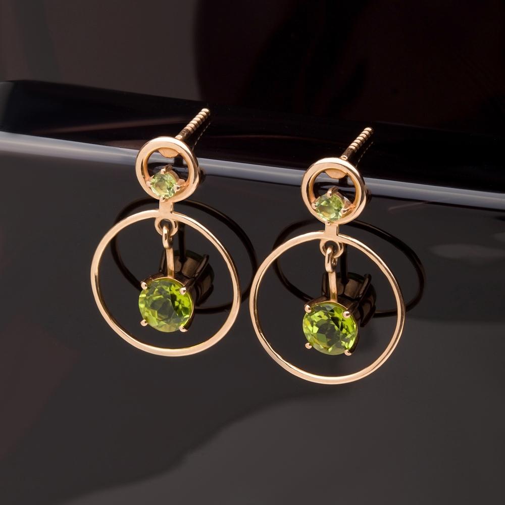 Золотые серьги гвоздики с хризолитами НЮ102000793331хр