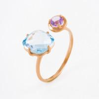 Золотое кольцо с аметистом и топазом