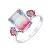 Серебряное кольцо с ситалом и фианитами ДИ92011725