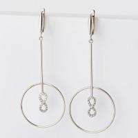 Серебряные серьги подвесные с фианитами СЫ020311-288-113