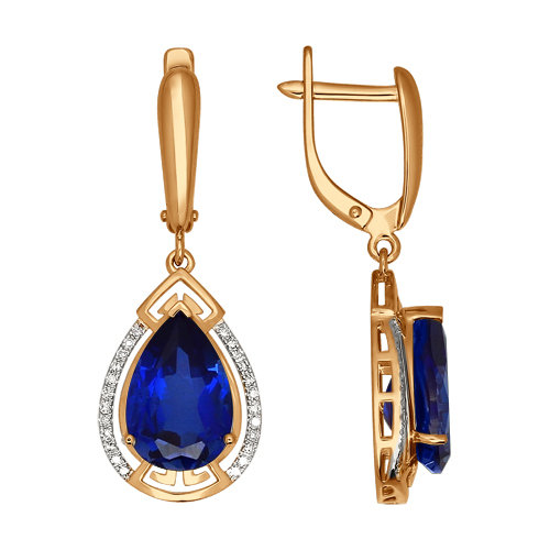 Золотые серьги подвесные с бриллиантами и корундами сапфирами ДИ6022001