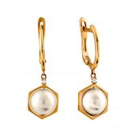 Золотые серьги подвесные с жемчугом СН0100-24