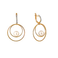 Золотые серьги подвесные с жемчугом и фианитами СН0104-24