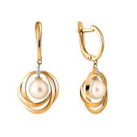 Золотые серьги подвесные с жемчугом и фианитами СН0097-24
