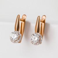 Золотые серьги с сваровски и фианитами ЮПС1326227 женские