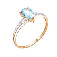 Золотое кольцо с топазами и фианитами ЮИК122-4600тг