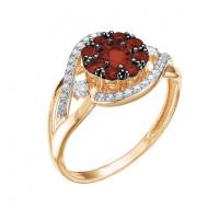 Золотое кольцо с гранатами и фианитами ЮИК125-3905гр
