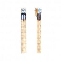 Золотые серьги подвесные с топазами и фианитами ЮИС124-5491м5тс