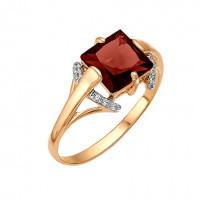 Золотое кольцо с гранатами и фианитами ЮИК122-1113гр