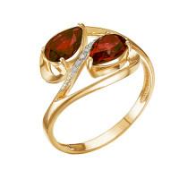 Золотое кольцо с гранатами и фианитами ЮИК122-4108гр