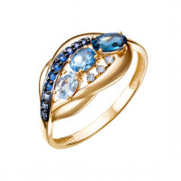 Золотое кольцо с топазами и фианитами ЮИК124-5500М5