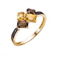Золотое кольцо с фианитами, цитринами и раухтопазами ЮИК124-5498М2