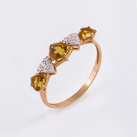 Золотое кольцо с цитринами и фианитами ЮИК122-5425Ц