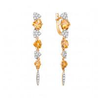 Золотые серьги подвесные с цитринами и фианитами ЮИС122-5425Ц