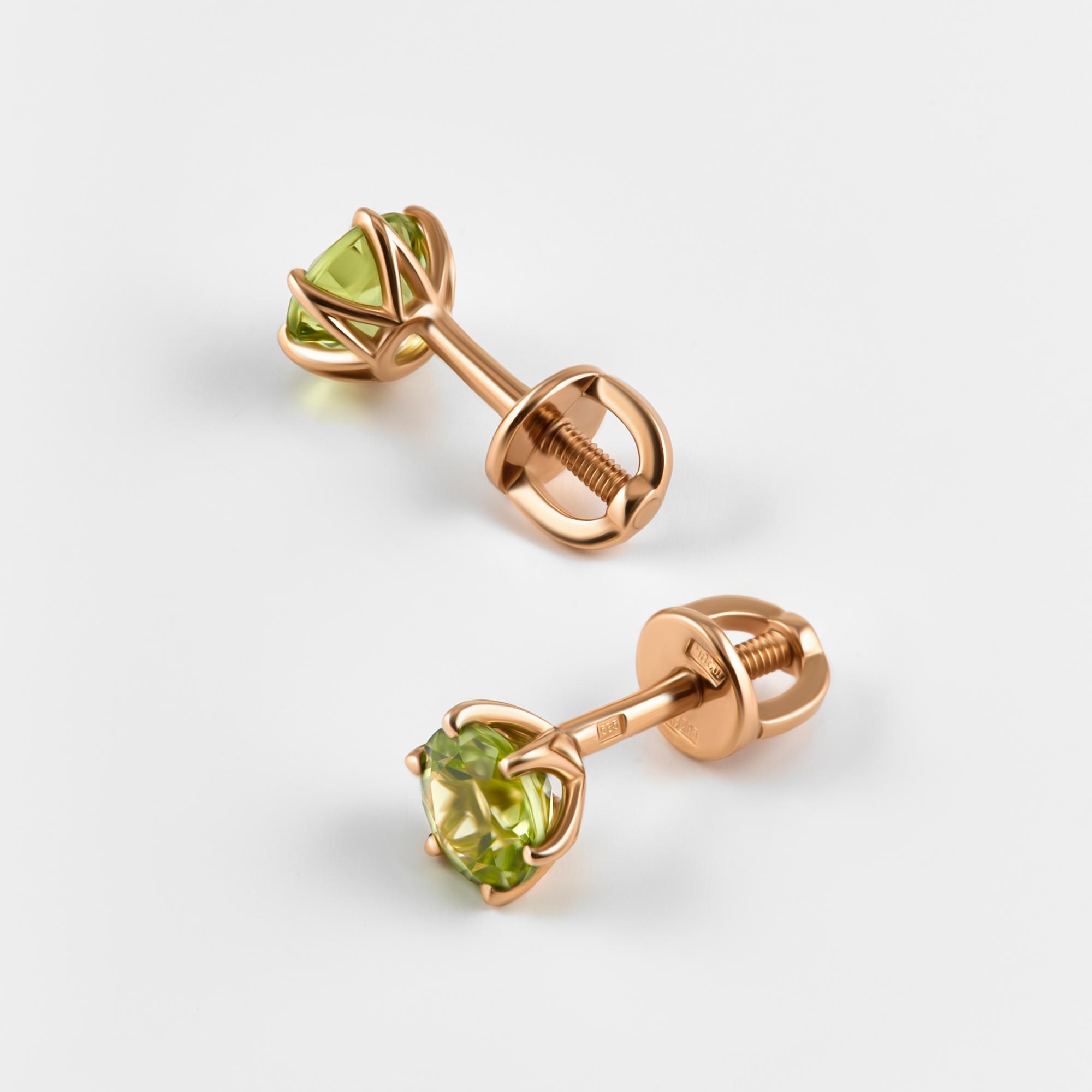 Золотые серьги гвоздики с хризолитами ЮПС1341324хр