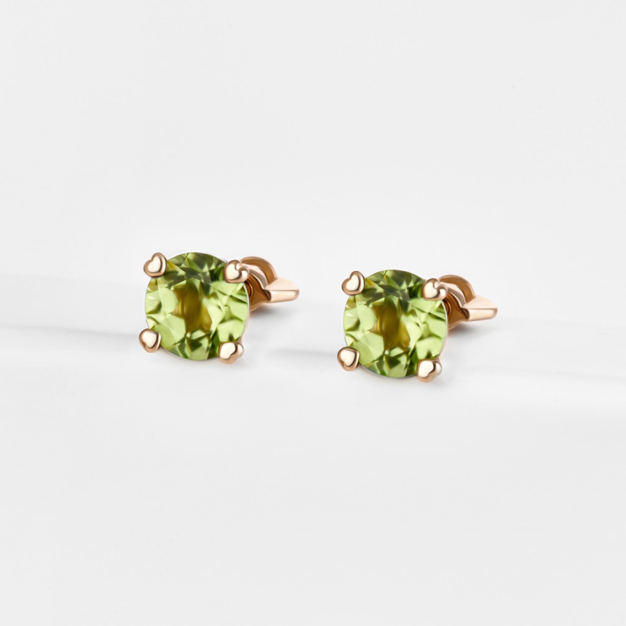 Золотые серьги гвоздики с хризолитами ЮПС1341319хр