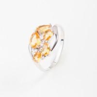 Серебряное кольцо с кварцем и фианитами РО1-1059Р-105кцт
