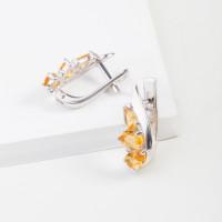 Серебряные серьги с кварцем и фианитами РО2-1059Р-105кцт