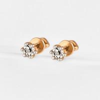 Золотые серьги гвоздики с бриллиантами ЛХ09-01370-02-001-02-01
