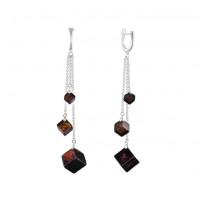 Серебряные серьги подвесные с янтарем 6Д429041051АЦ