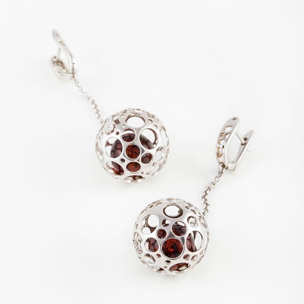 Серебряные серьги подвесные с янтарем 6Д429041440ГС