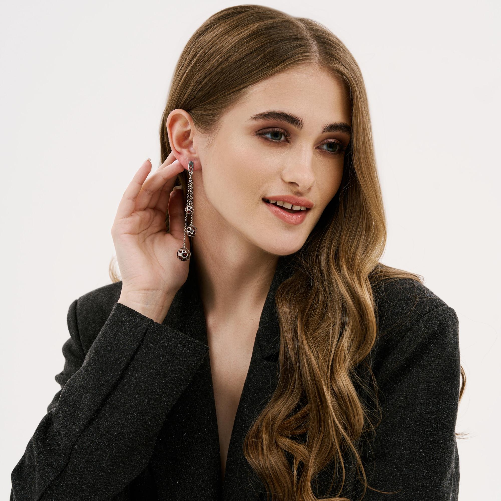 Серебряные серьги подвесные с янтарем 6Д429041435АЦ