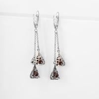 Серебряные серьги подвесные с янтарем 6Д429041439АГ