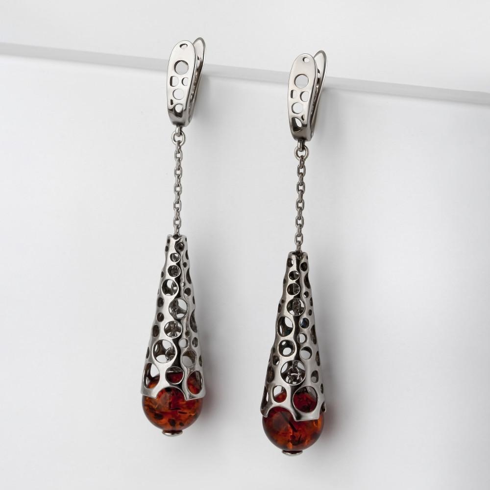 Серебряные серьги подвесные с янтарем 6Д429041450КК