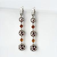 Серебряные серьги подвесные с янтарем 6Д429041436АА