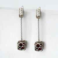 Серебряные серьги подвесные с янтарем 6Д429041429ЦО
