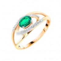Золотое кольцо с бриллиантами и изумрудом ВР48412