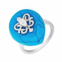 Серебряное кольцо с бирюзой и фианитами СЫ21СР000802Ц196бз