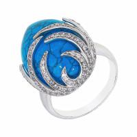 Серебряное кольцо с бирюзой и фианитами СЫ21СР000822Ц196бз