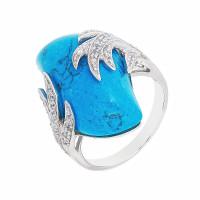 Серебряное кольцо с бирюзой и фианитами СЫ21СР000823Ц196бз