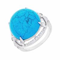Серебряное кольцо с бирюзой и фианитами СЫ21СР000735Ц196бз