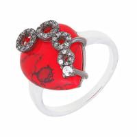 Серебряное кольцо с фианитами и кораллами СЫ21КСЖББ0048319